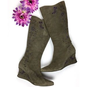 Donald J. Pliner Embroidered Butterfly Boots 7.5